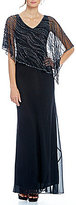 J Kara Beaded Overlay Asymmetrical Hem Gown