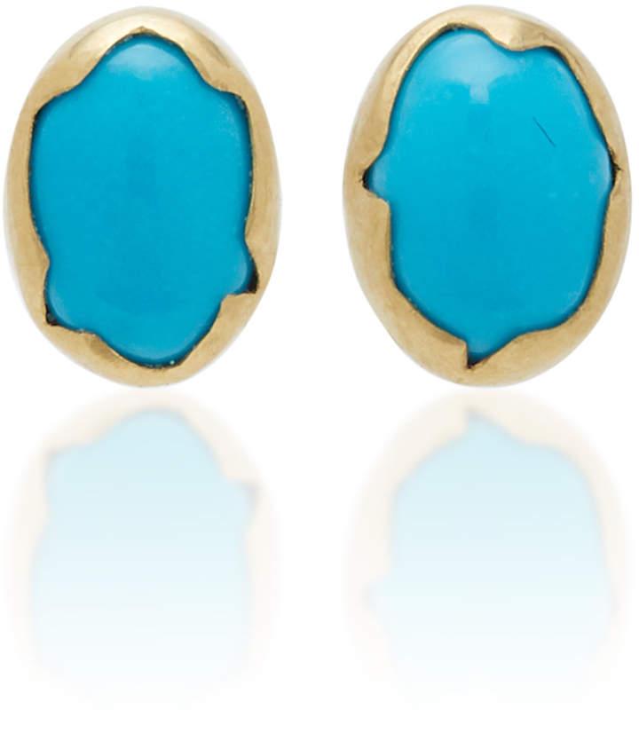 Annette Ferdinandsen Eggs 18K Gold Turquoise Earrings