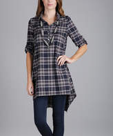 Lily Navy Plaid Roll-Tab Sleeve Button-Front Tunic - Plus Too