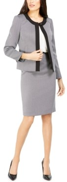 Le Suit Contrast-Trim Skirt Suit