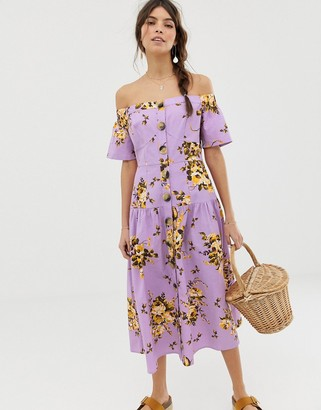 Asos DESIGN off shoulder button through midi dress in floral print