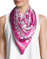 Versace Silk Floral Medallion-Print Square Scarf, Pink/White
