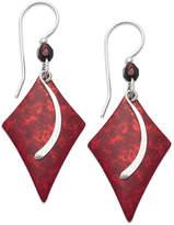 Jody Coyote Patina Brass Earrings, Red Diamond and Glass Bead Drop Earrings