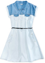 GUESS Chambray Shirtdress With Belt, Big Girls (7-16)
