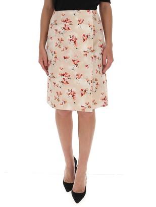 Prada Floral Printed Midi Skirt