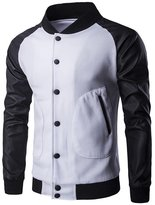 Whatlees What Lees Mens Casual Contrast Button Down Leather Jacket With Pockets -M