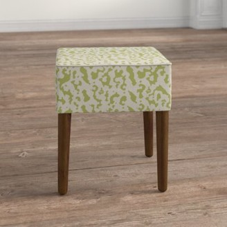 Kelly Clarkson Home Warrick Cheetah Linen Upholstered Solid Wood Vanity Stool Color: Chartreuse Green