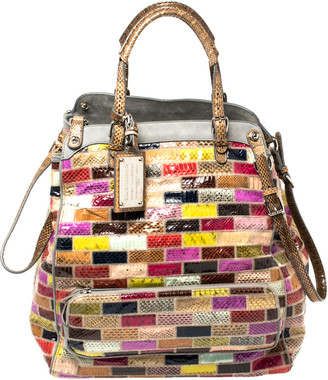 Dolce & Gabbana Multicolor Patchwork Snakeskin Miss Pocket Tote