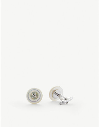 Lanvin Button mother-of-pearl and rhodium-plated cufflinks