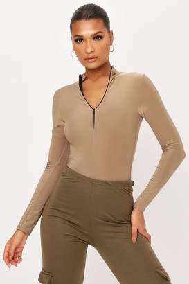 I SAW IT FIRST Taupe Double Layer Slinky Zip High Neck Long Sleeve Bodysuit