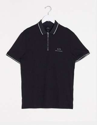 Armani Exchange polo shirt with half zip in black