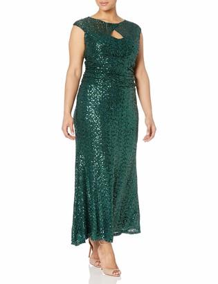 Marina Women's Plus Size Cap Sleeve Sequin Gown