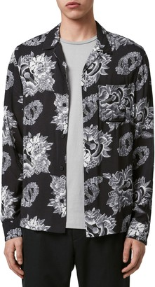 AllSaints Garland Regular Fit Floral Print Button-Up Shirt