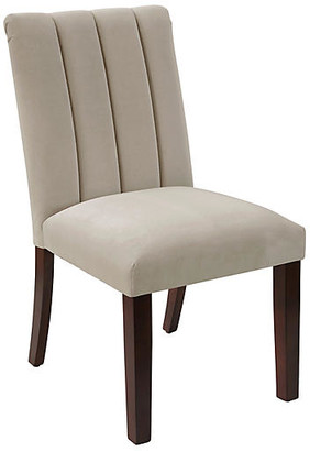 One Kings Lane Delmar Side Chair - Light Gray Velvet - frame, espresso; upholstery, light gray
