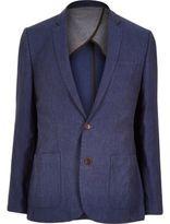 River Island MensBlue linen slim suit jacket