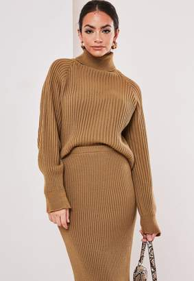 Missguided Tall Camel Co Ord Roll Neck Crop Jumper