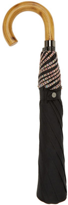 Paul Smith Black Multi Stripe Crook Umbrella