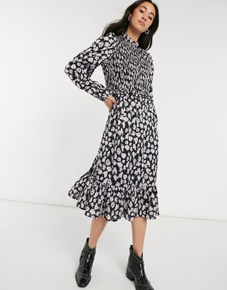 Vero Moda midi smock dress with shirred detail in black and lilac floral