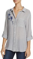 Aqua Floral Embroidered Stripe Tunic - 100% Exclusive