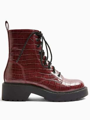 Topshop Kacy Lace Up Boots - Burgundy