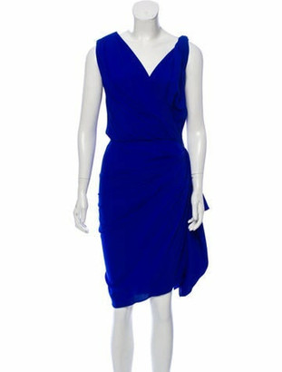 Lanvin Sleeveless Silk Dress Blue