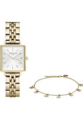 ROSEFIELD Women's Watch The Boxy: Gift Set with Gold Watch and Gold Bracelet - BMWLBG-X241