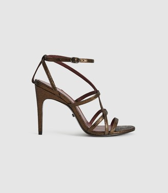Reiss Dana Bronze - Metallic Strappy Sandals in Bronze
