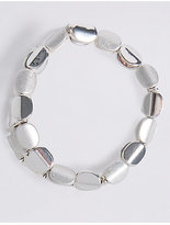 M&S Collection Silver Plated Twist Nugget Stretch Bracelet