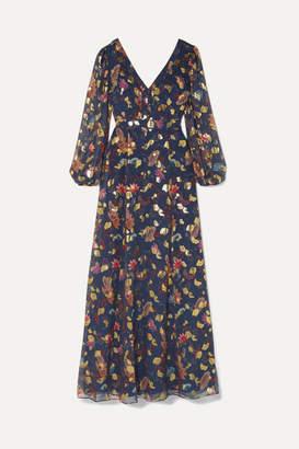 Rachel Zoe Annabel Fil Coupe Silk-blend Maxi Dress - Midnight blue