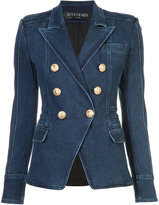 Balmain button-embellished denim blazer