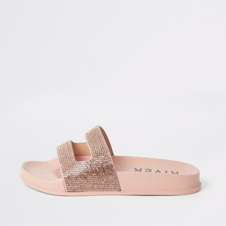 River Island Girls rose Gold diamante sliders