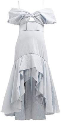 Jonathan Simkhai Off-the-shoulder Gingham Seersucker Dress - Womens - Blue White