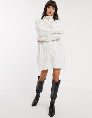 Object cable knit jumper dress in white