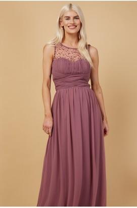 Little Mistress Grace Bridesmaid Mauve Embellishment Sweetheart Maxi Dress