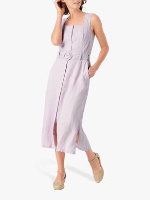 Brora Houndstooth Linen Midi Dress