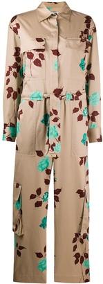 MSGM Floral-Print Cotton Jumpsuit