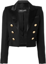 Balmain open front cropped blazer - women - Silk/Cotton/Polyester/Viscose - 42