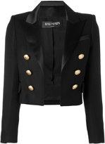 Balmain open front cropped blazer - women - Viscose/Polyester/Spandex/Elastane/Cotton - 32