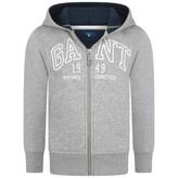 Gant GantBoys Grey Hooded Zip Up Top
