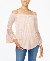 American Rag Embroidered Off-The-Shoulder Top, Only at Macy's