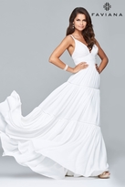 Faviana s7933 Long dress with lace bodice and tiered skirt