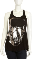 Romeo & Juliet Couture Metallic Skull Tank, Black