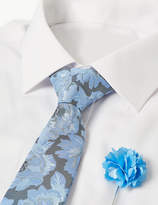 M&S CollectionMarks and Spencer Floral Tie & Lapel Pin Set