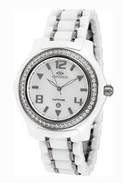 MOP Oniss Paris Women'S ON806-L Wht Ladies, High Tech Ceramic Case and Band with Stainless Steel Middle Links ,Swiss Movement, Sapphire Crystal, Dial,52 Austrian Crystals on Bezel - Blalck Watch
