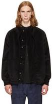 Phoebe English Black Corduroy Double Collar Bomber Jacket