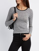 Charlotte Russe Marled Crew Neck Ringer Tee