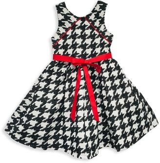 Joe Ella Little Girl's & Girl's Houndstooth Ribbon Dress