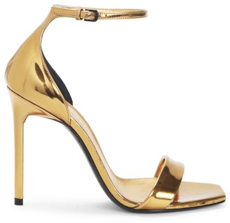 Saint Laurent Metallic Leather Stiletto Sandals