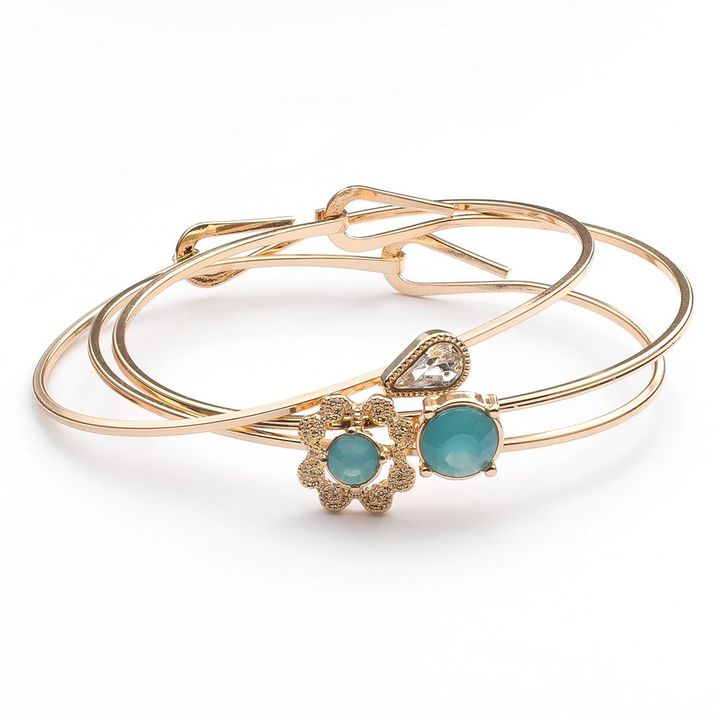 Lauren Conrad flower bangle bracelet set