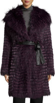 Gorski Belted Fox-Fur Long Parka Coat, Violet